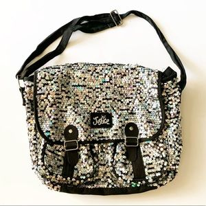 Justice messenger bag black with silver sequins
